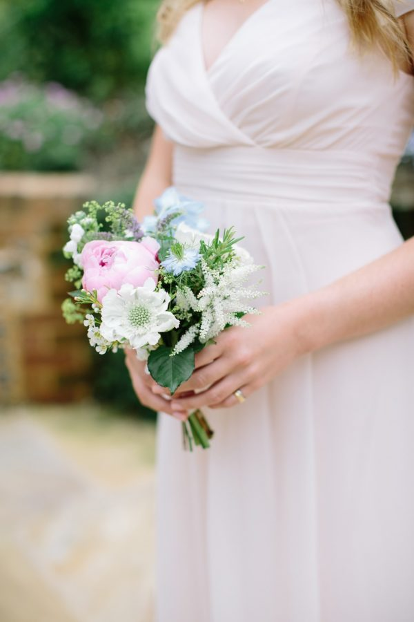 natural pink, blue and white bridesmaids bouquet