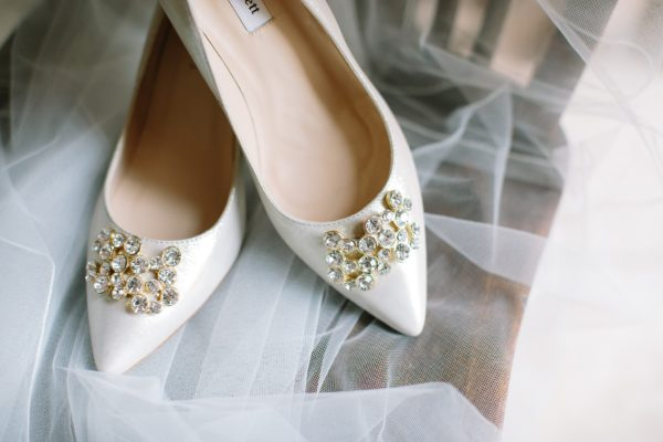 LK Bennett wedding shoes with gold jewels on the front