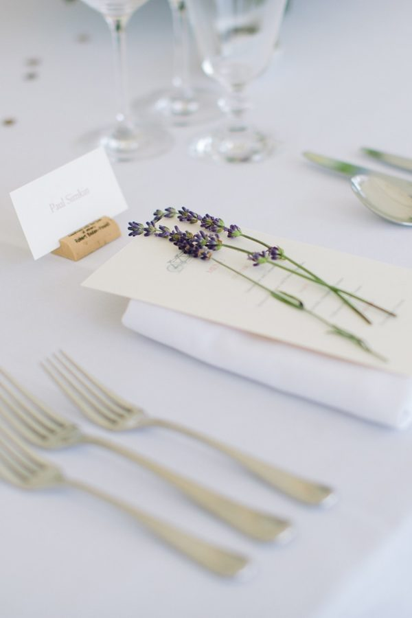 Sprigs of lavender on wedding menu at Stansted House wedding
