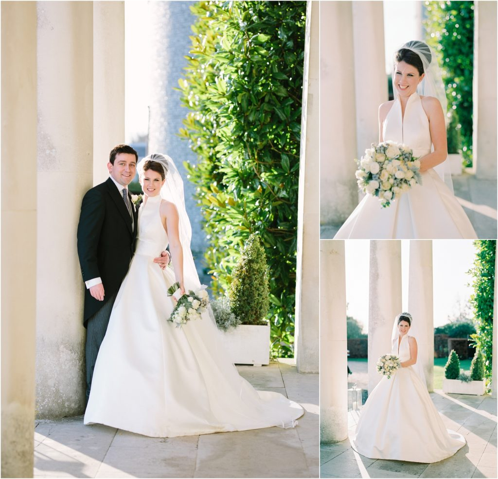 Bride and groom outside Goodwood House