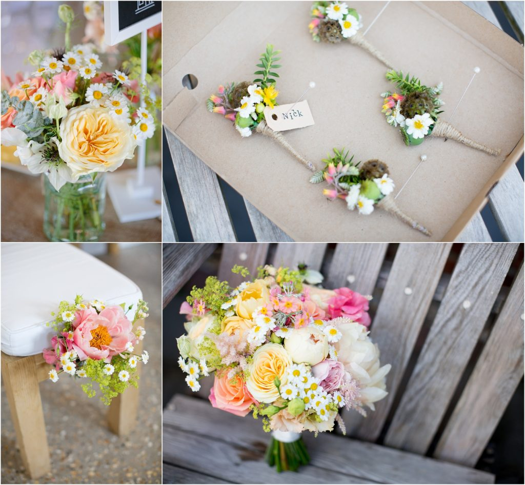 colourful spring wedding flowers
