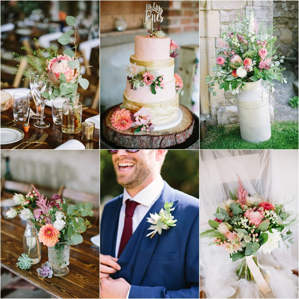 bright rustic wedding flowers