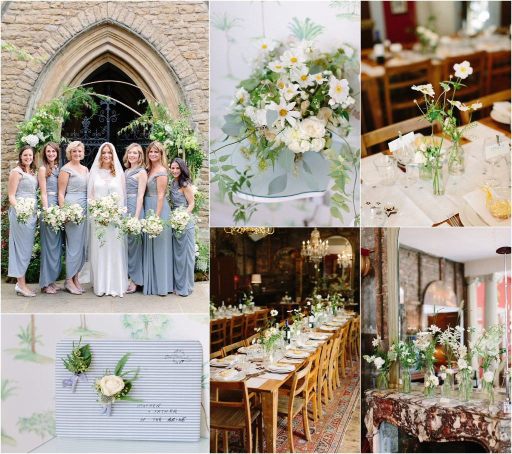green and white modern wedding flowers
