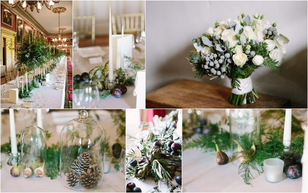white and green winter wedding flowers