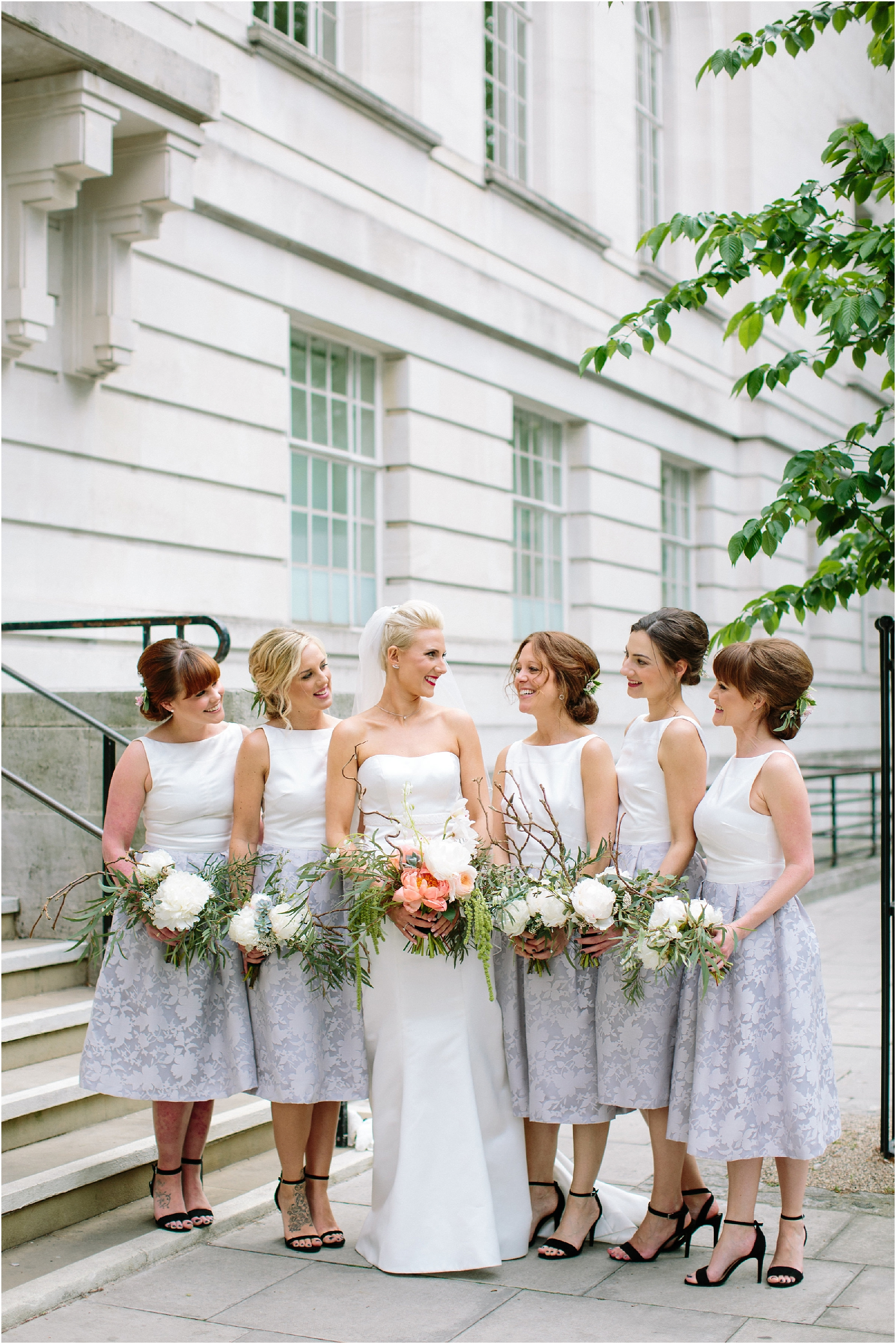 Bridesmaids in short dresses