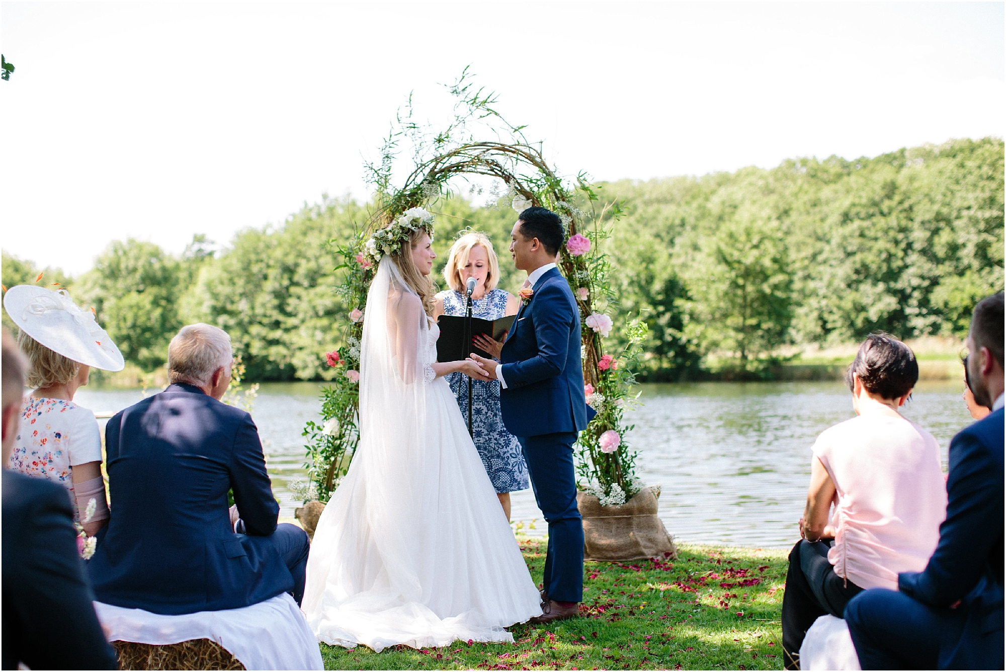Outdoor wedding ceremony at Duncton Mill Fishery