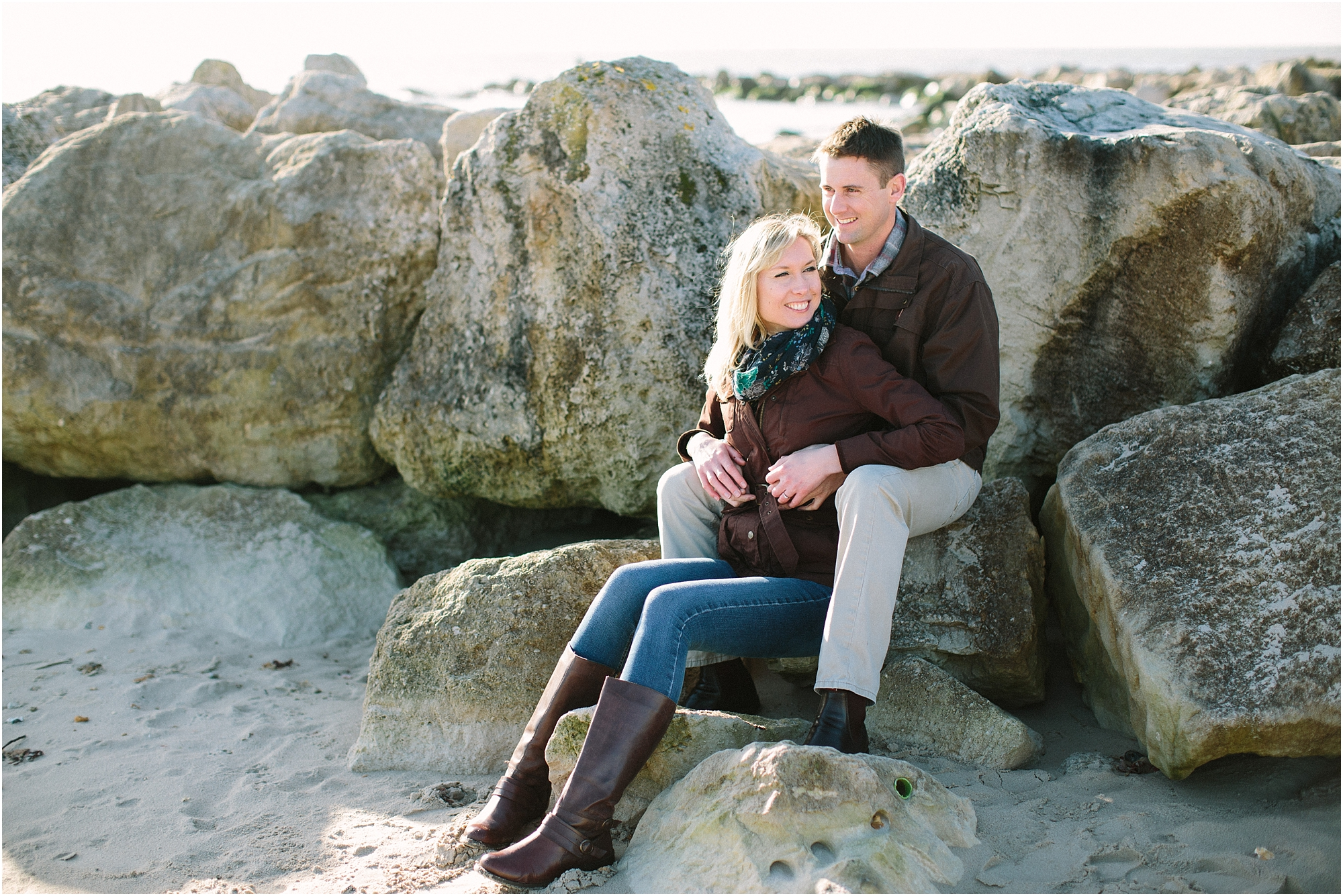 Couple sitting by rocks