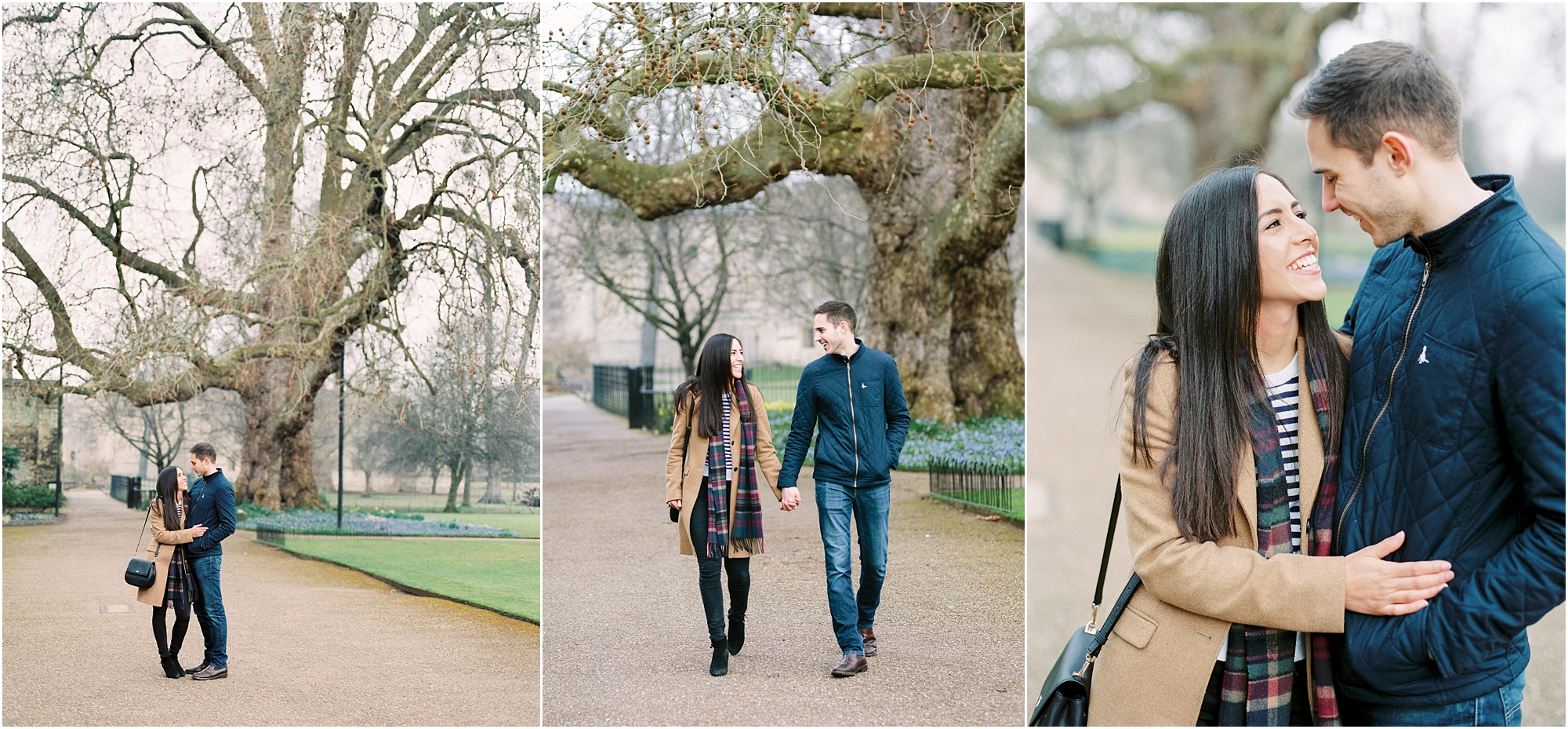 Couple walking at Magdalen College Oxford