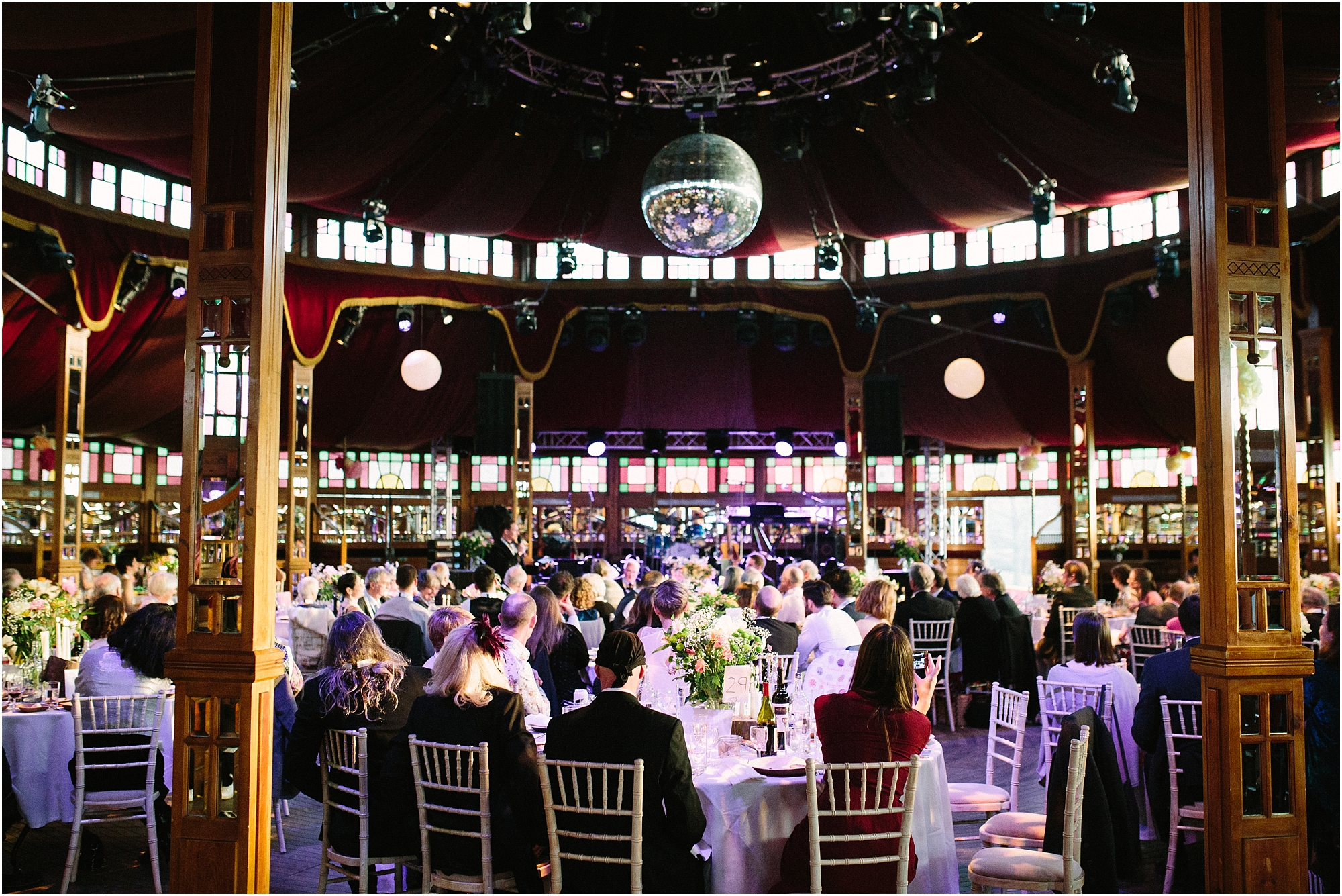 wedding speeches inside spiegeltent