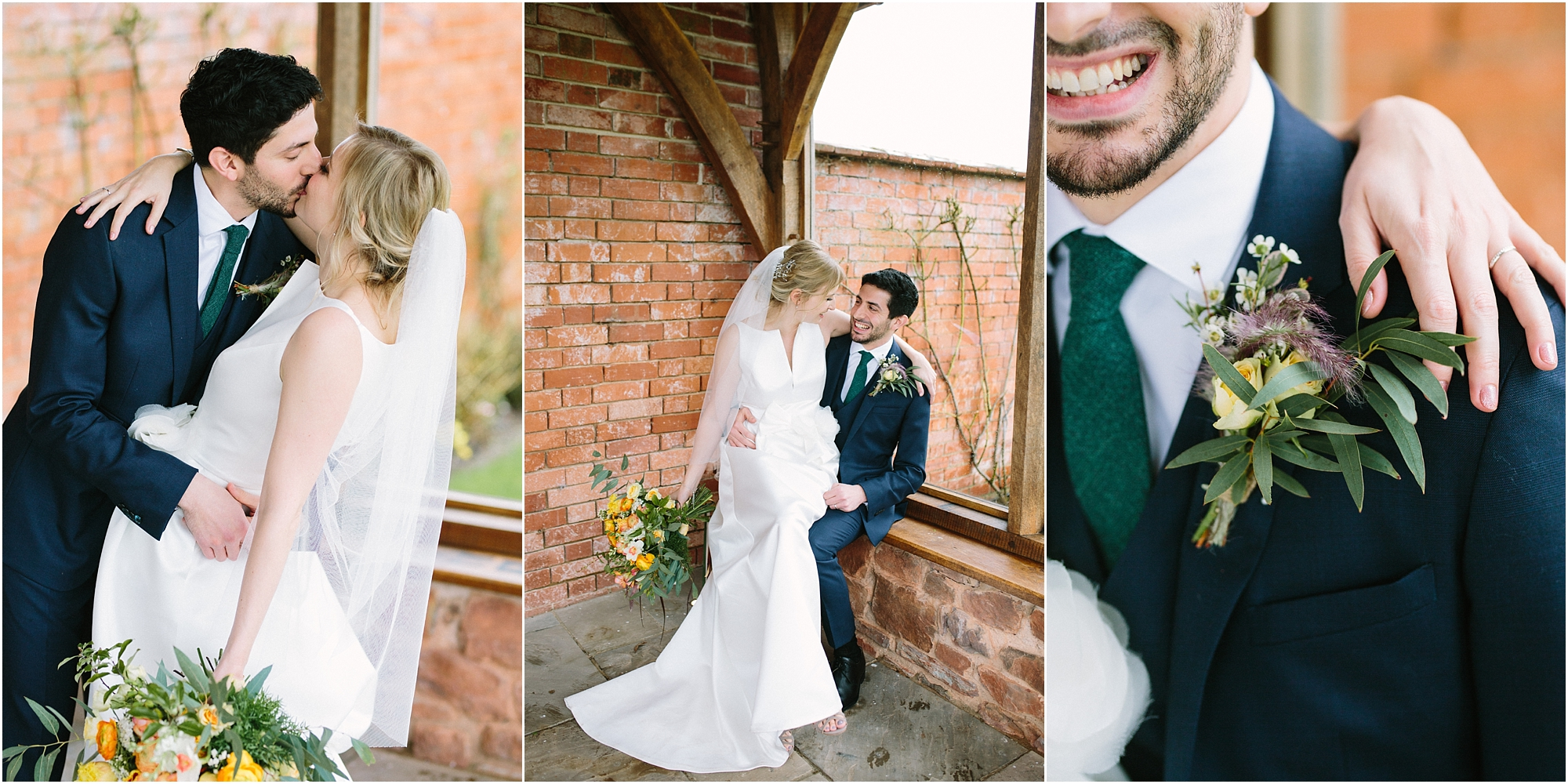 Bride and groom in the arbour at Upton Barn Wedding Venue