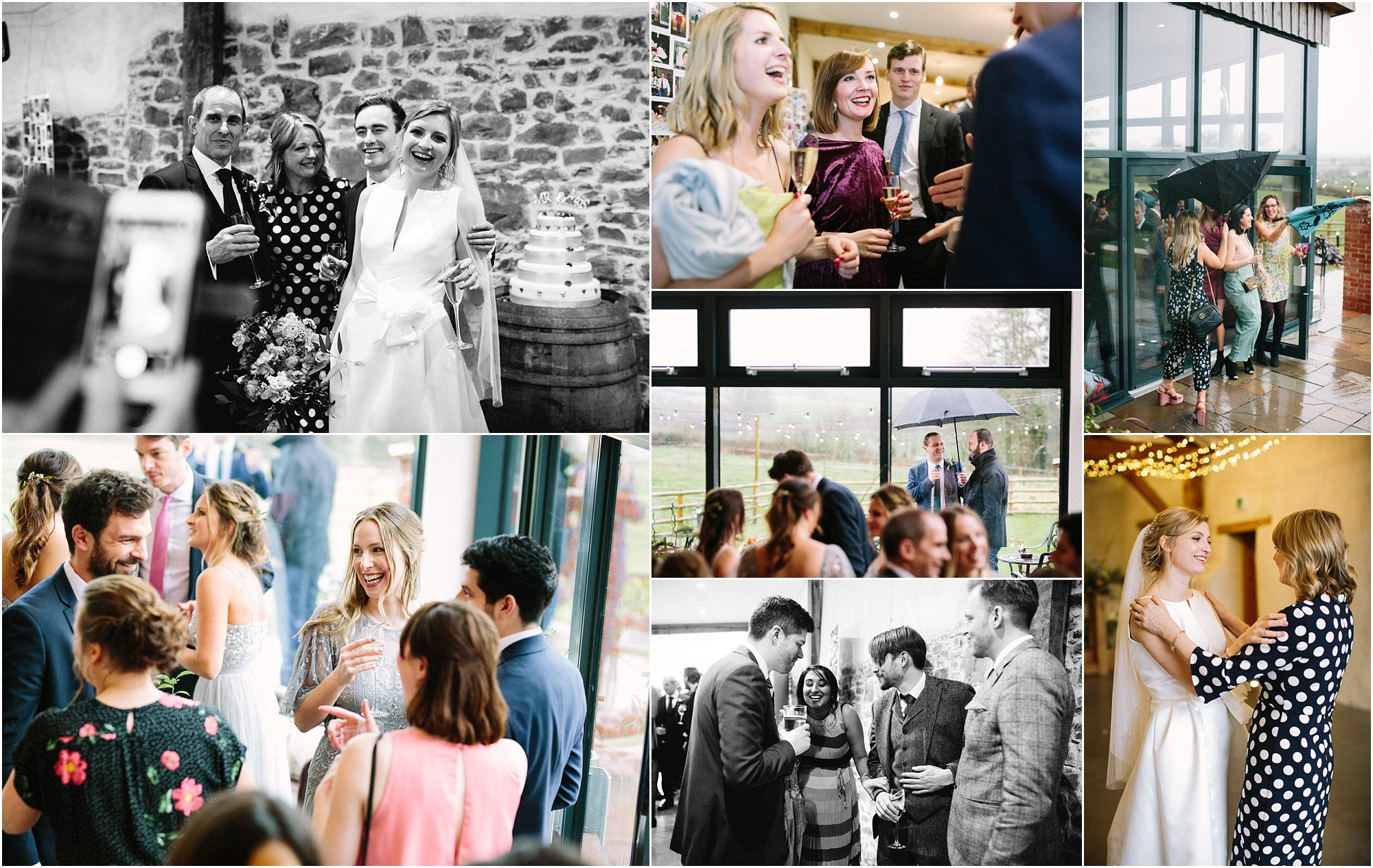 guests during wedding reception at Upton Barn