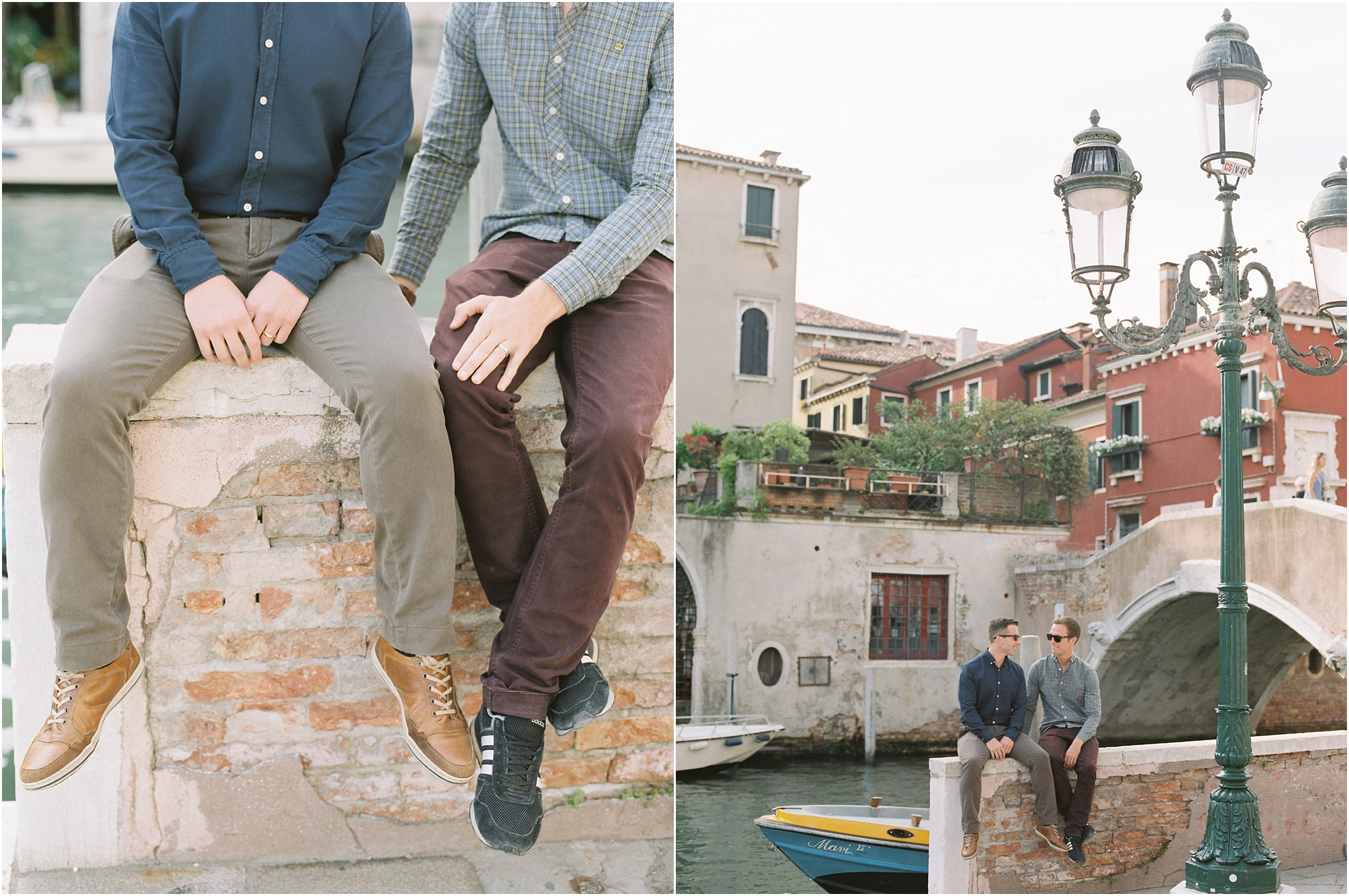 Gay men by bridge in Venice Italy