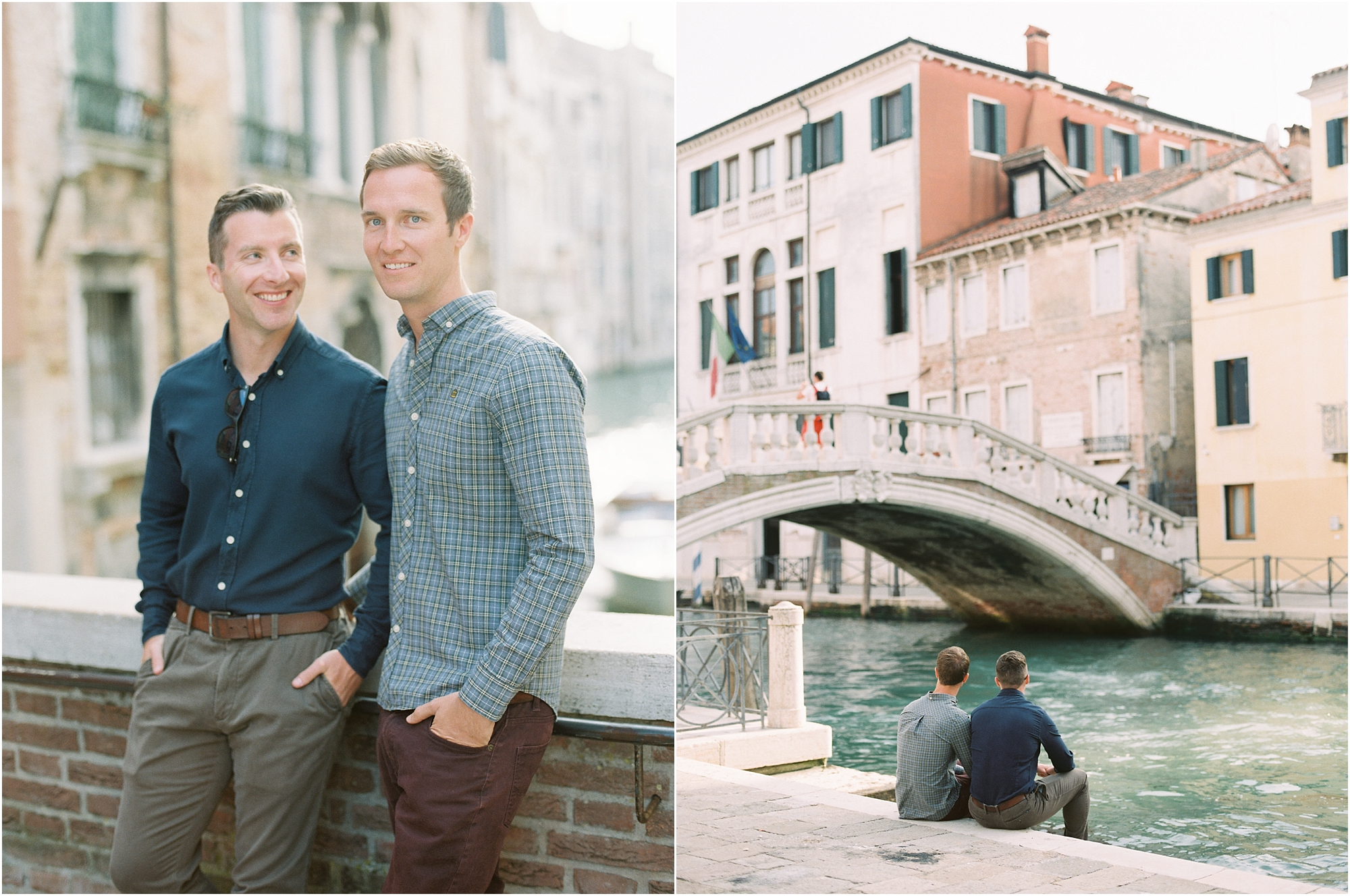 Gay couple sitting next to bridge in Venice