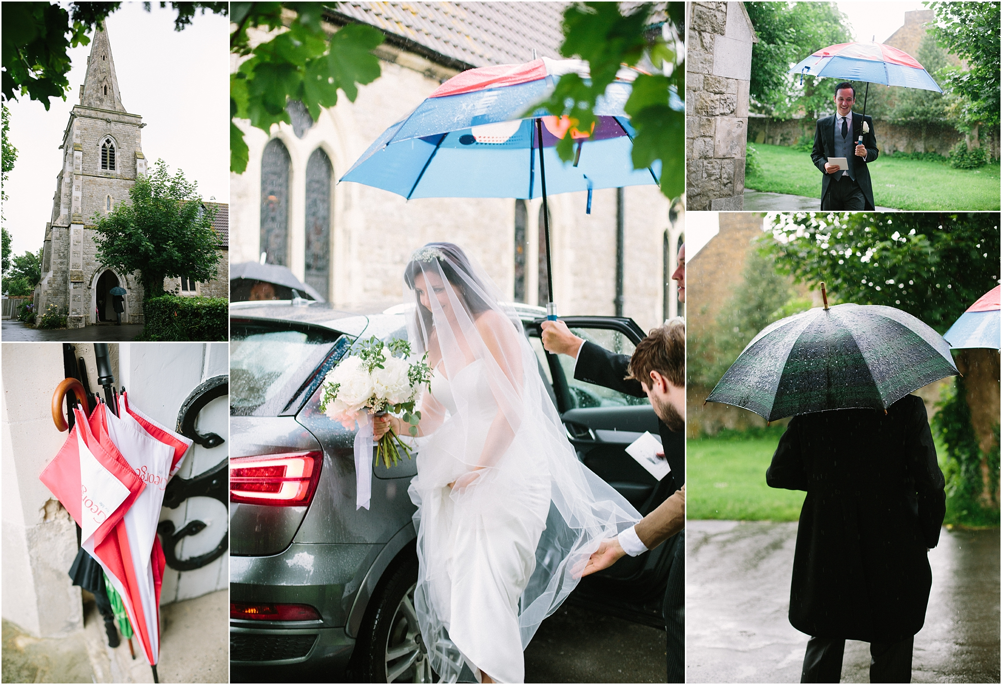 bride getting out of car in the rain