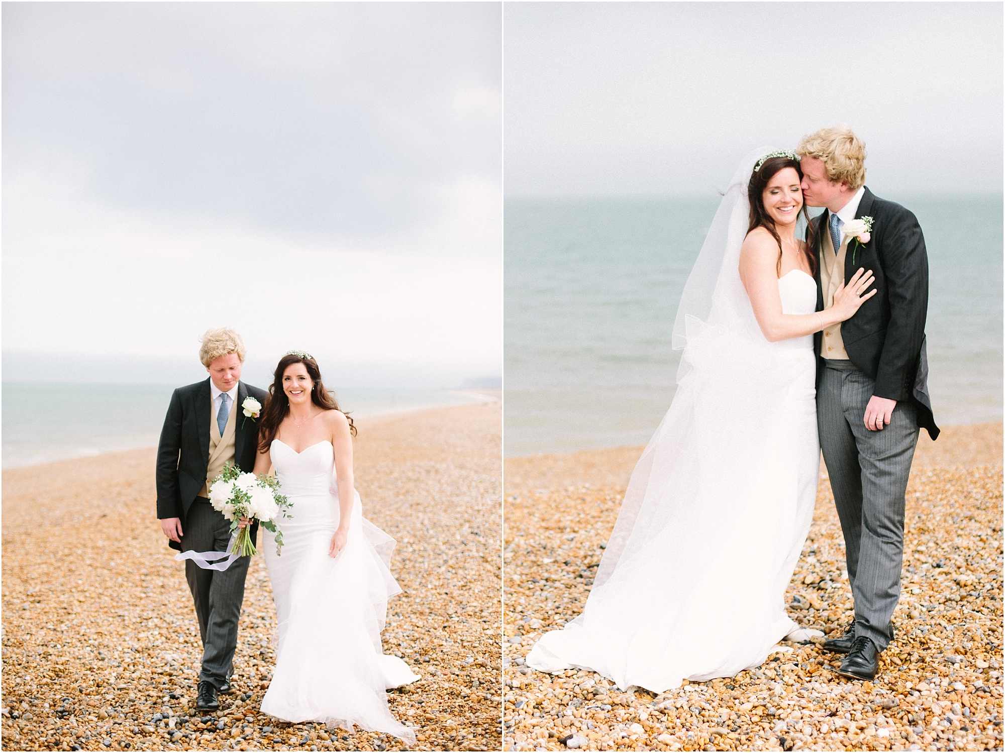 bride and groom on the beach in Deal Kent
