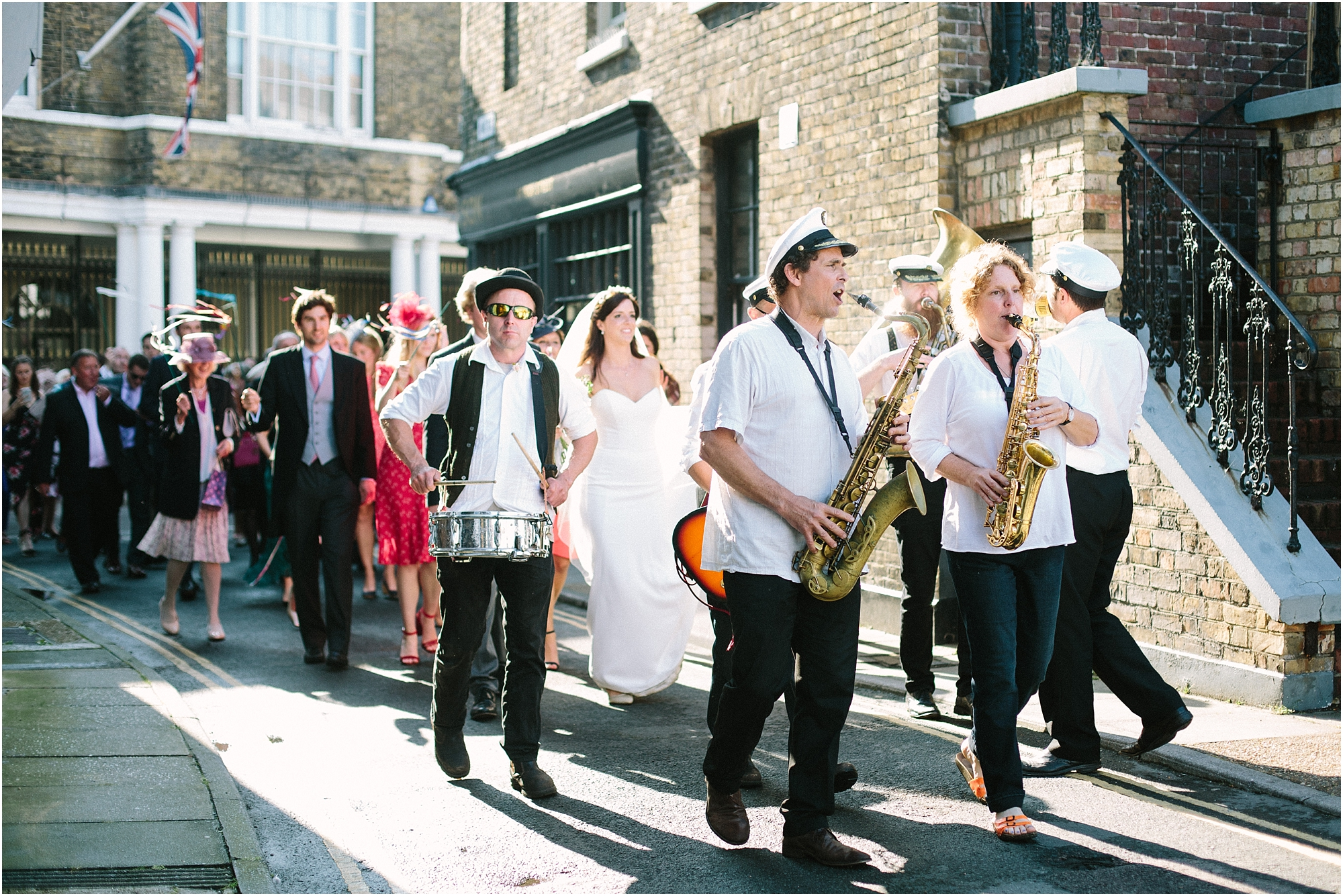 brass band wedding procession in Deal Kent