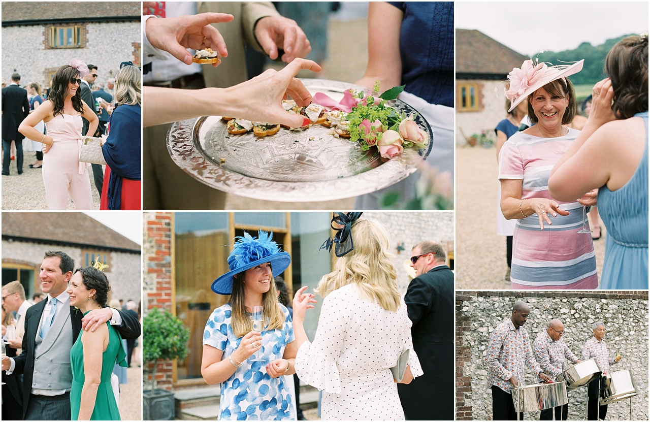Guests at reception of sussex farm wedding