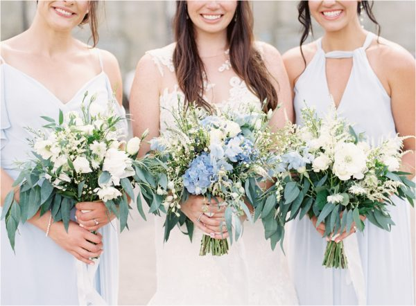 Bride with bridesmaids at Chiddingstone Castle