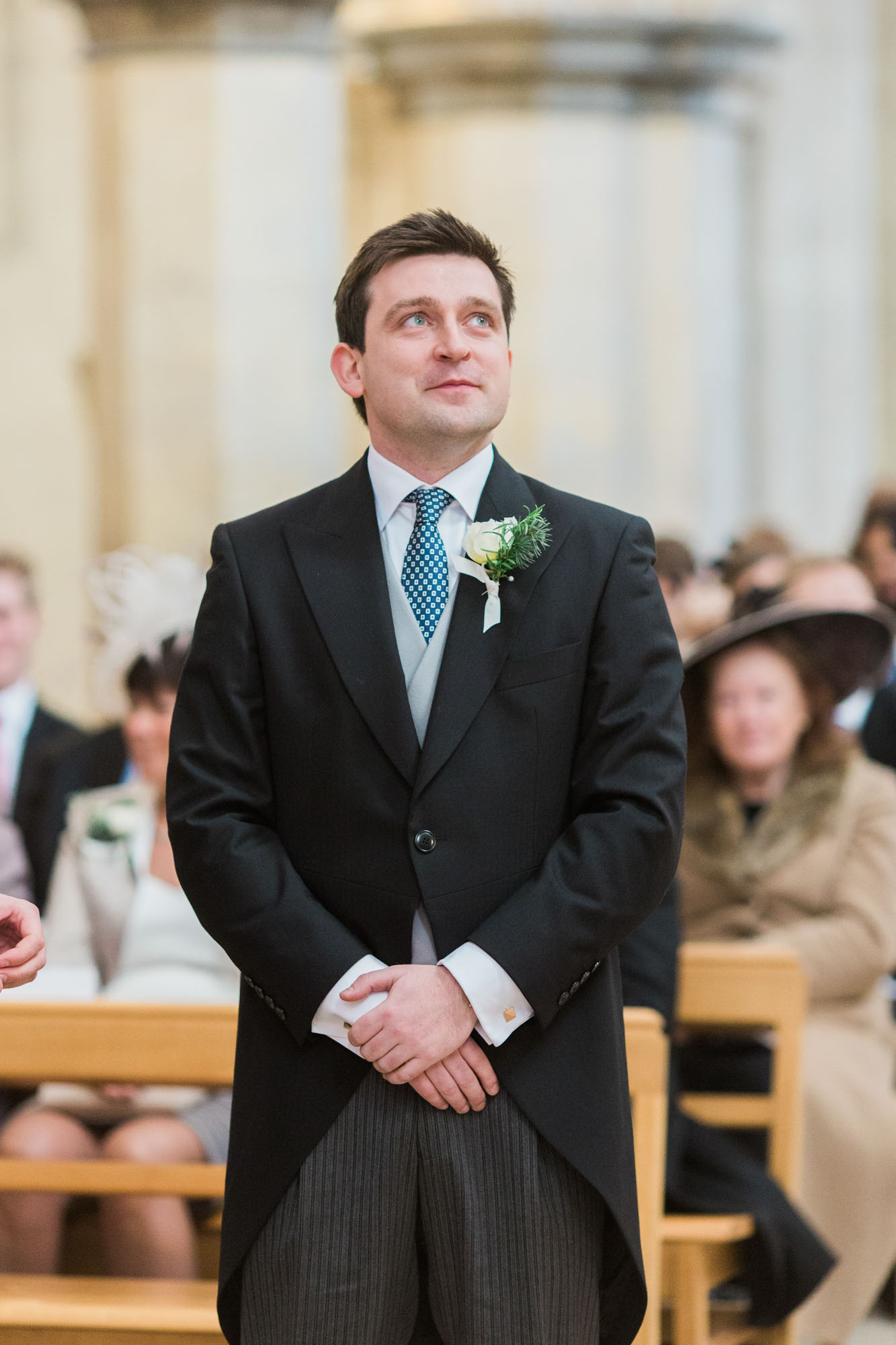 Groom waiting for bride at the alter of Boxgrove Priory wedding