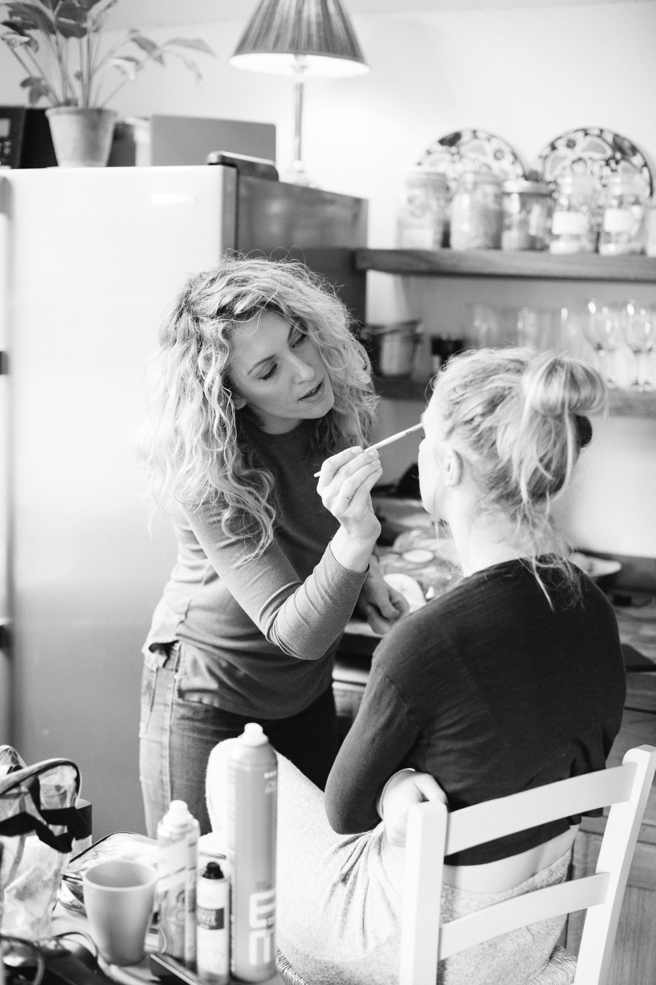 Make up artist from ID doing bridesmaids make up on wedding morning