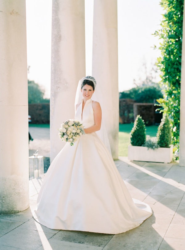 Classic and elegant bridal portrait at Goodwood House wedding