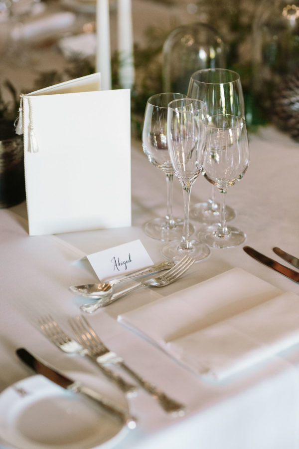 Calligraphy table settings at Goodwood House wedding