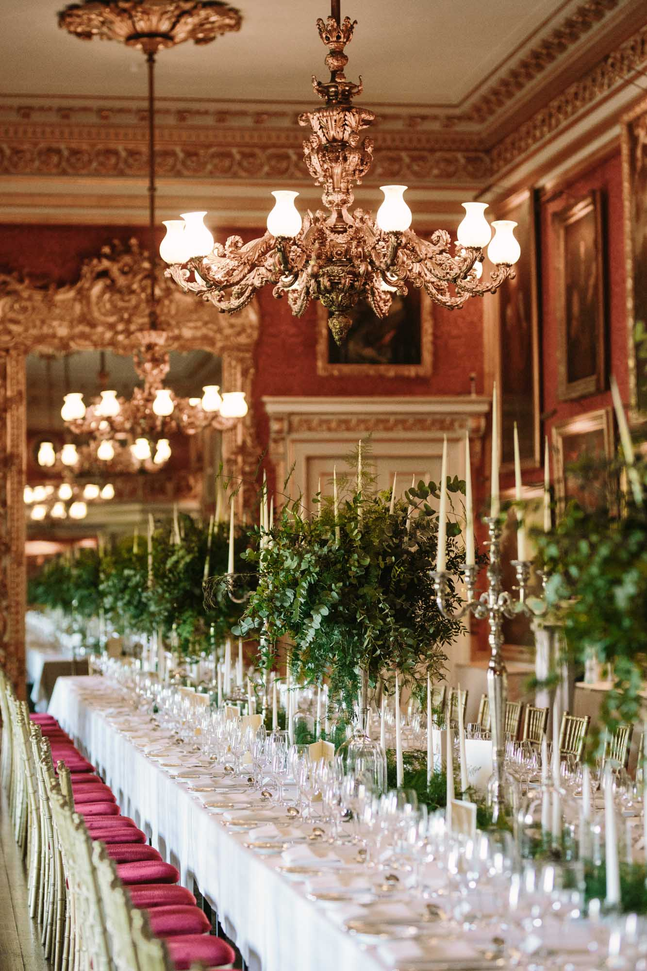 Long banqueting table set up for wedding breakfast at Goodwood House