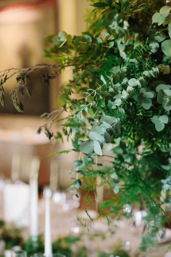 Green foliage wedding decoration at Goodwood House wedding