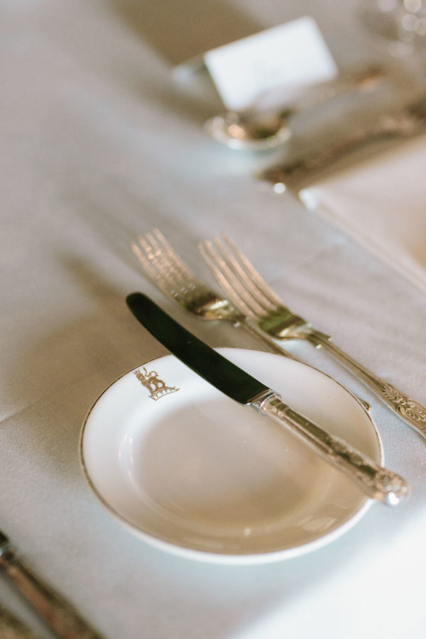 Monogrammed wedding crockery at Goodwood House wedding