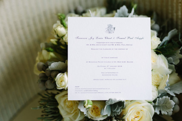 Wedding stationery for Goodwood House wedding on wedding bouquet