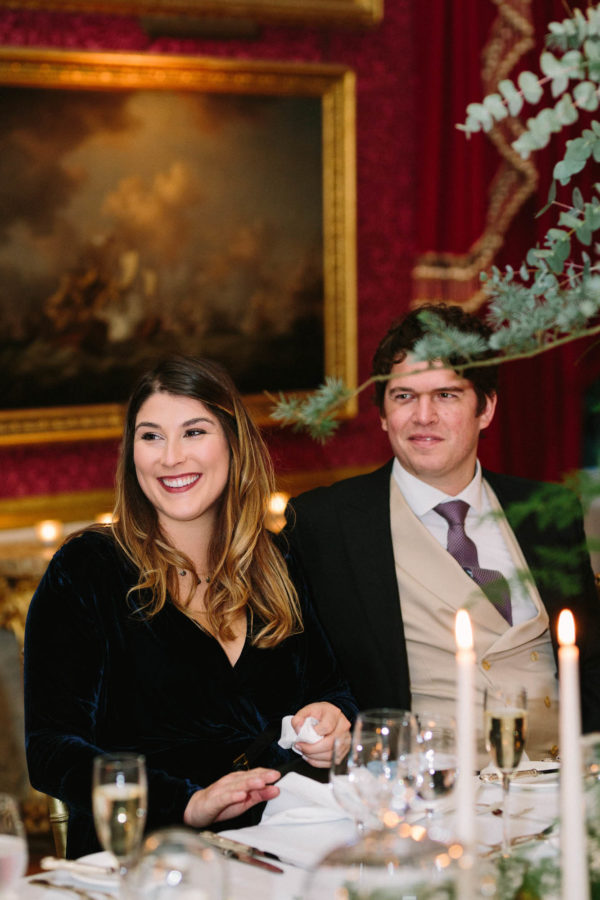 Wedding guests smiling during Goodwood House wedding