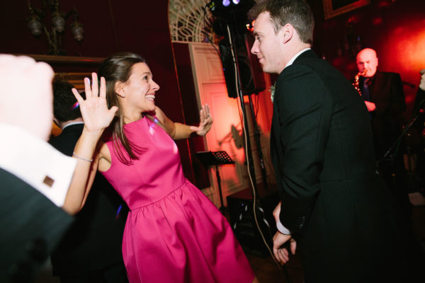 Guests dancing in the evening of Goodwood House wedding