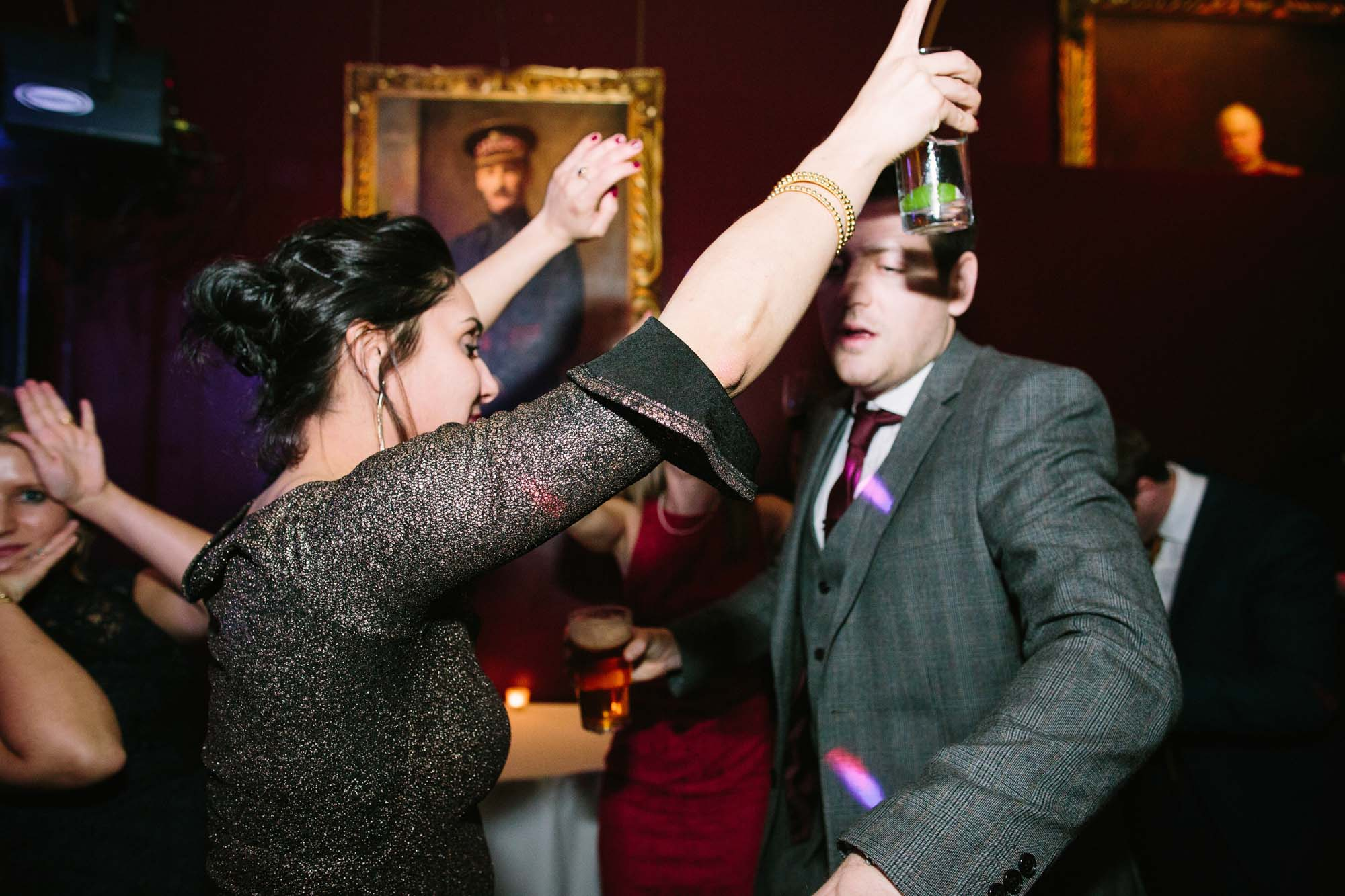 Guests dancing during a wedding at Goodwood House