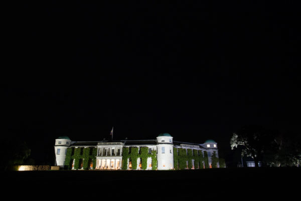 Night time photograph of Goodwood House