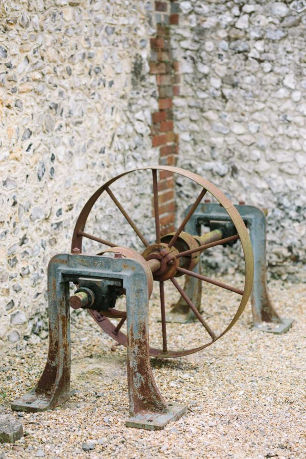 Old farming machinery at Sussex Garden Wedding