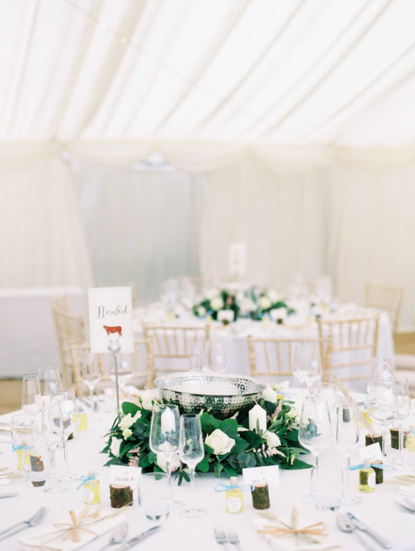 Wedding breakfast set up in marquee at Sussex Garden Wedding