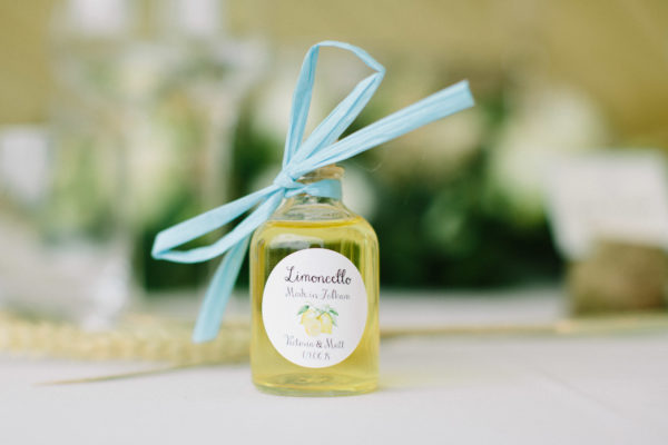 Personalised Limoncello wedding favours at Sussex Garden Wedding