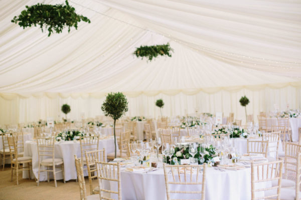 Photograph of whole marquee interior at Sussex Garden Wedding