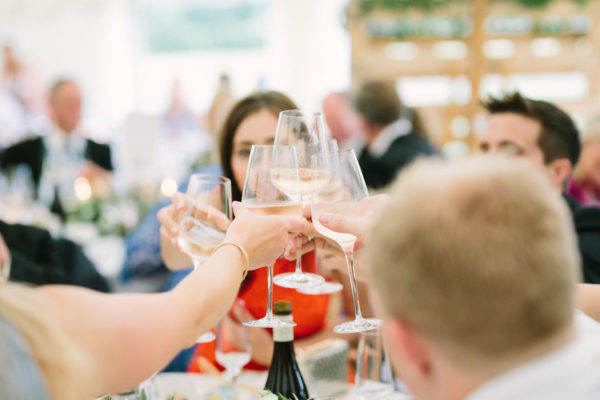 Guests toasting at Sussex Garden Wedding