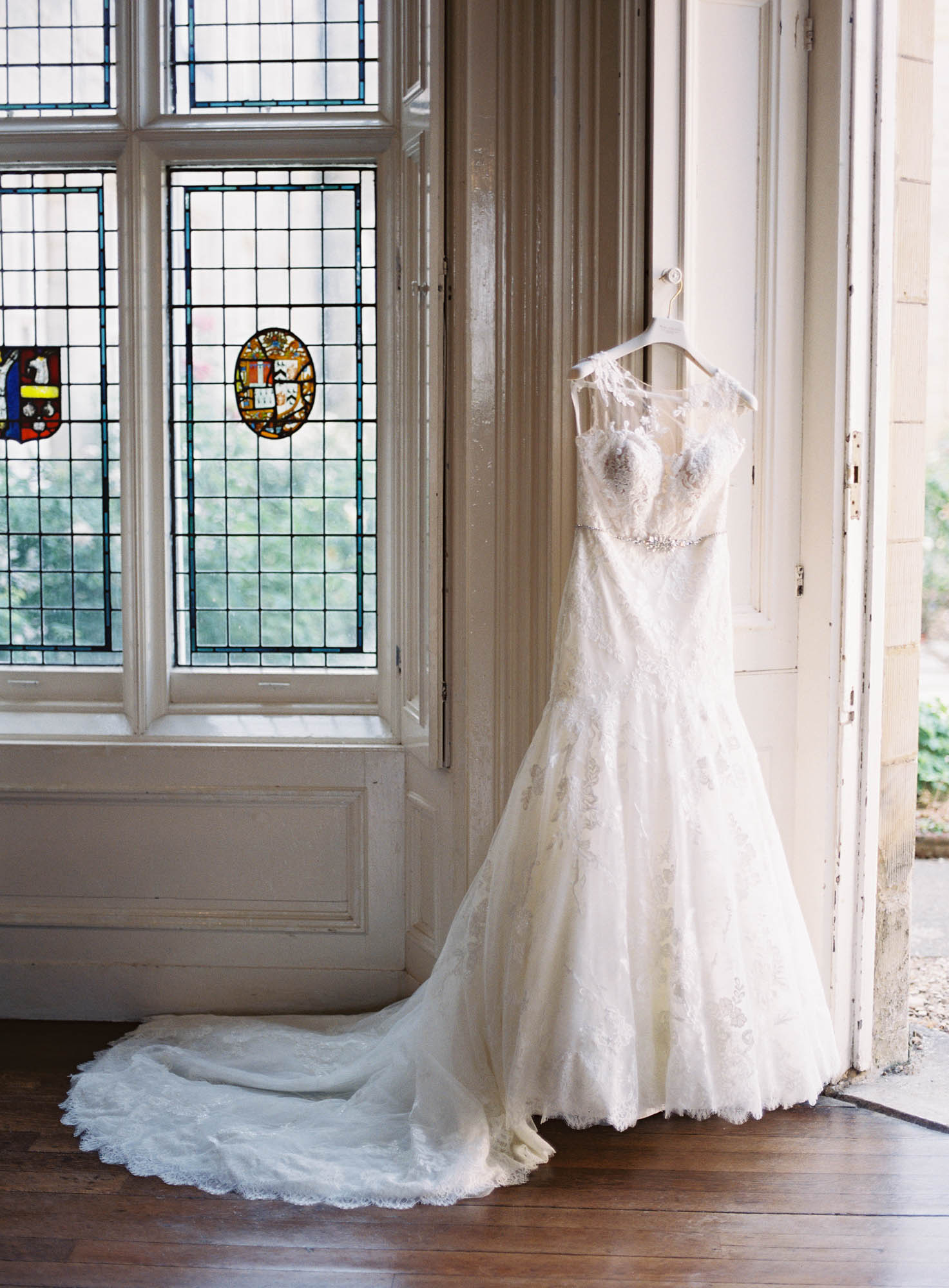 Wedding dress hanging up at Chiddingstone Castle