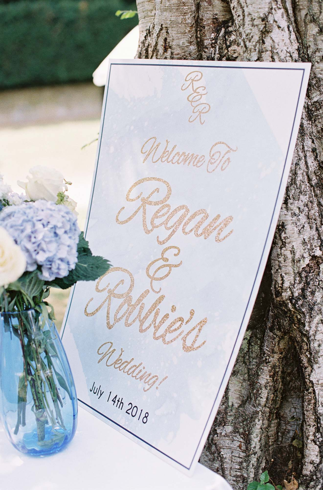 Welcome sign at Chiddingstone Castle wedding
