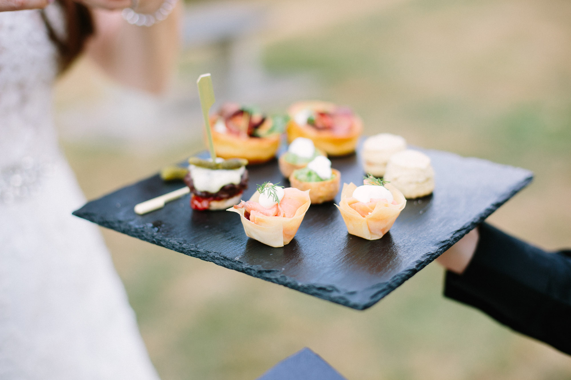 Selection of wedding canapés