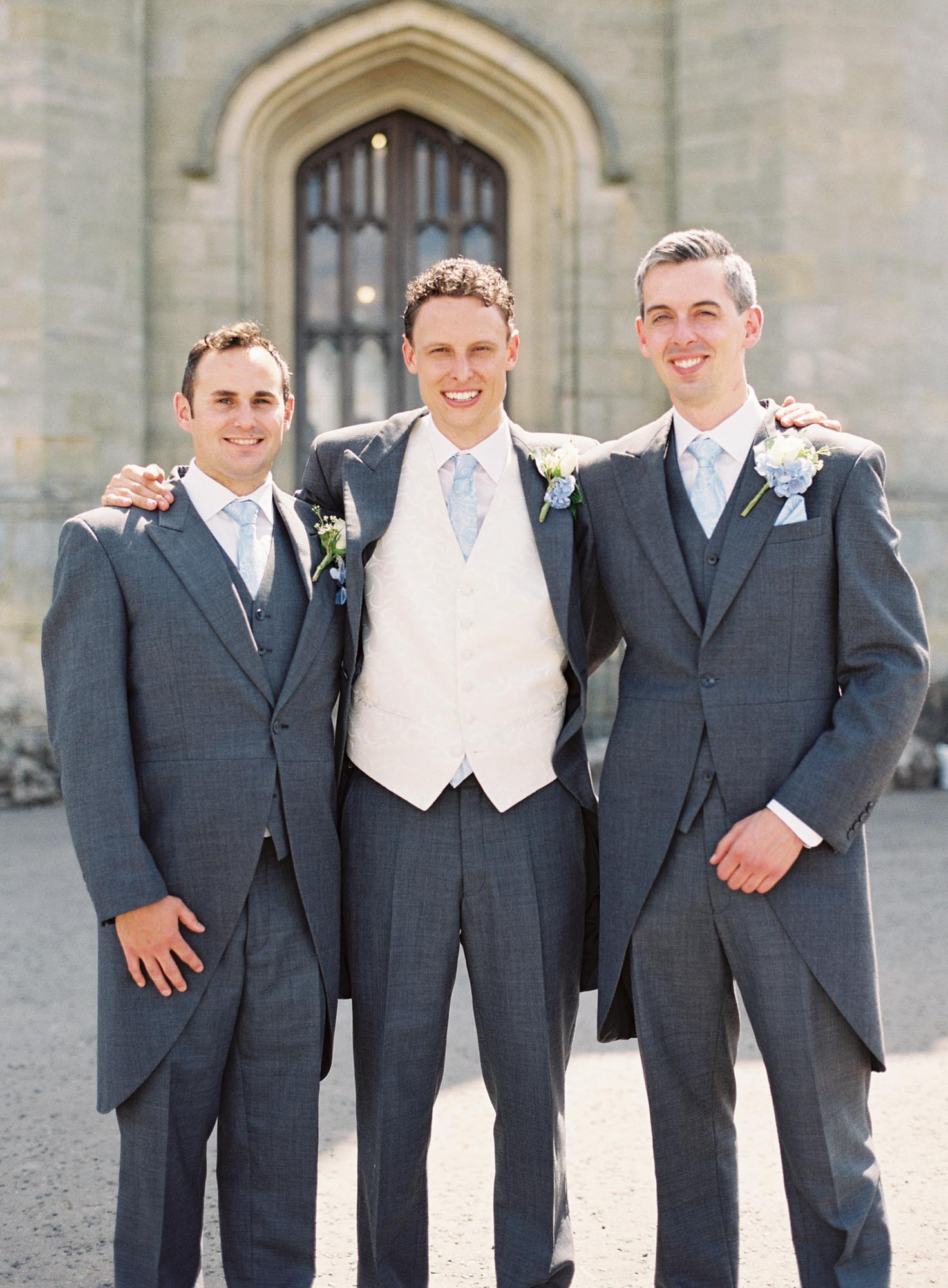 Groom with best at Chiddingstone Castle wedding
