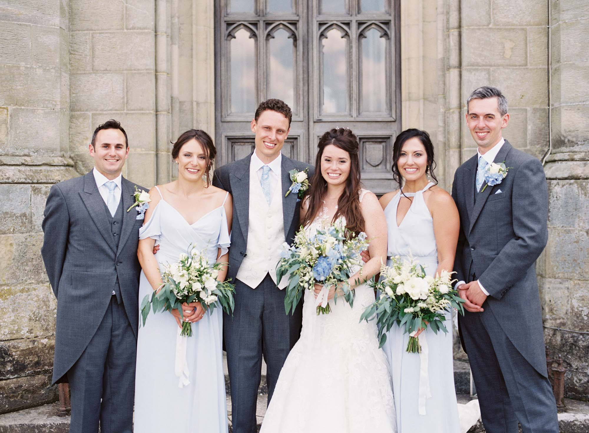 Bride with bridal party at Chiddingstone Castle wedding