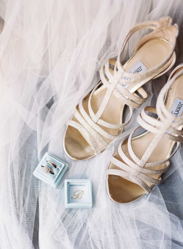Jimmy Choo wedding shoes with diamond engagement ring and wedding ring