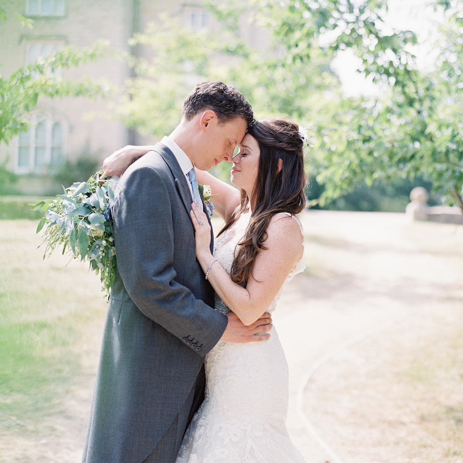Bride and groom in elegant, timeless wedding photography at Chiddingstone Castle wedding