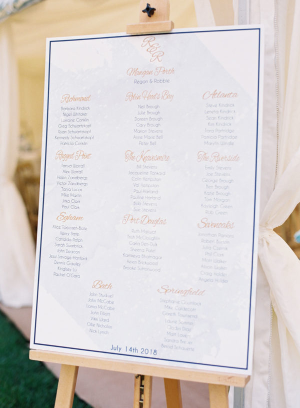Table plan of blue, white and gold at Chiddingstone Castle wedding