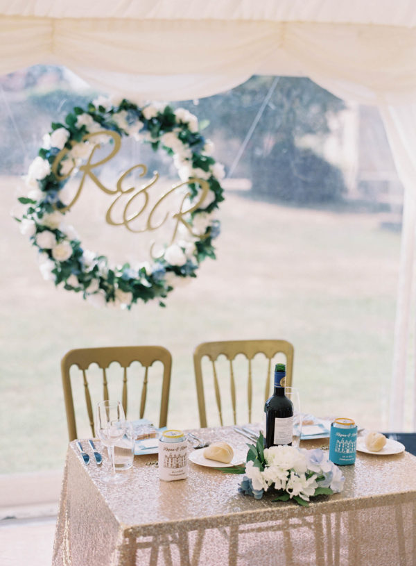 Sweetheart table set at Chiddingstone Castle wedding
