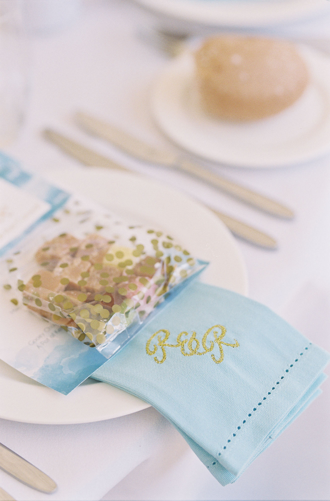 Personalised blue napkins at Chiddingstone Castle wedding