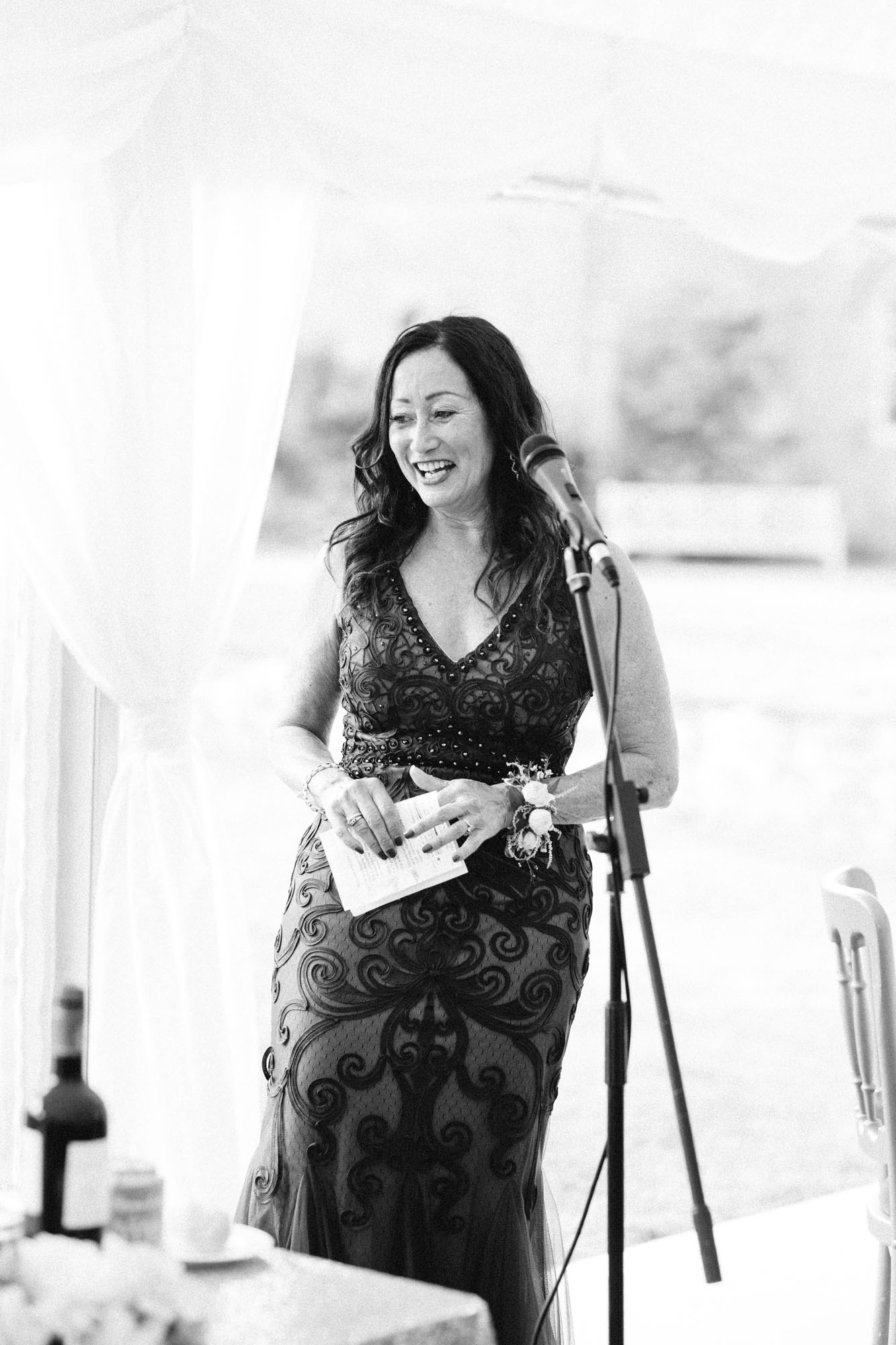 Mother of the bride giving speech at Chiddingstone Castle wedding